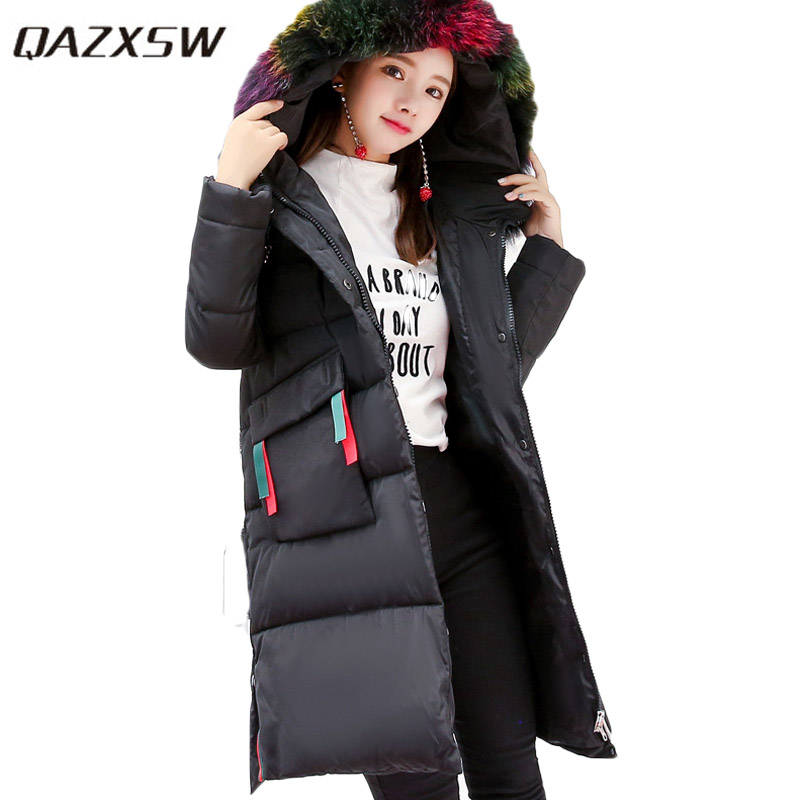 QAZXSW 2017 New Winter Cotton Coats Women Long Parkas Hooded Jacket Colorful Fur Collar Thick Padded Casual Winter Jacket HB352 qazxsw 2017 new winter cotton coat women slim hooded jacket two sides wear long parkas fur collar winter padded abrigos hb339