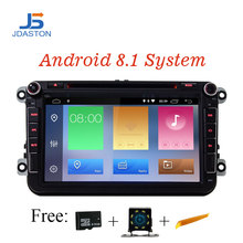 JDASTON 8 дюймов 2 DIN ANDROID 8,1 автомобильный gps Радио DVD для Skoda VW Passat B6 Поло Гольф 4 5 Touran T5 Jetta Caddy Tiguan сидение Bora