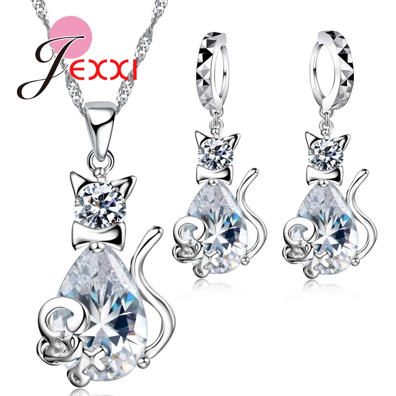 Cute White Cat& Mouse Jewelry Sets S90 Silver Color CZ AAA Cubic  ia Crystal Mother Days Gift Jewelry Sets El collarCute White Cat& Mouse Jewelry Sets S90 Silver Color CZ AAA Cubic  ia Crystal Mother Days Gift Jewelry Sets El collar