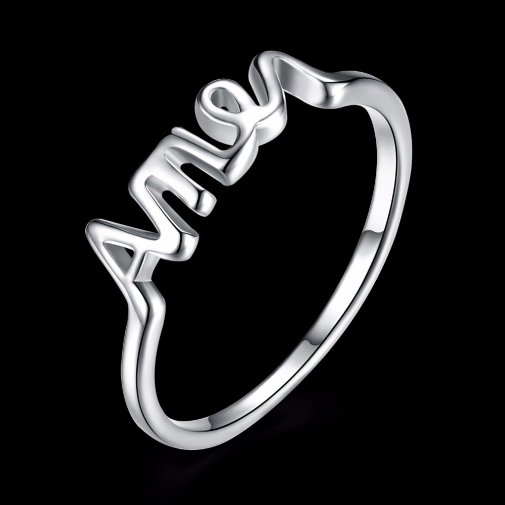 2017 New 925 pure silver plated Rings Jesus Letter Amen for Woman Men Anillos Wedding Finger Ring Fashion Christ Jewelry Bague