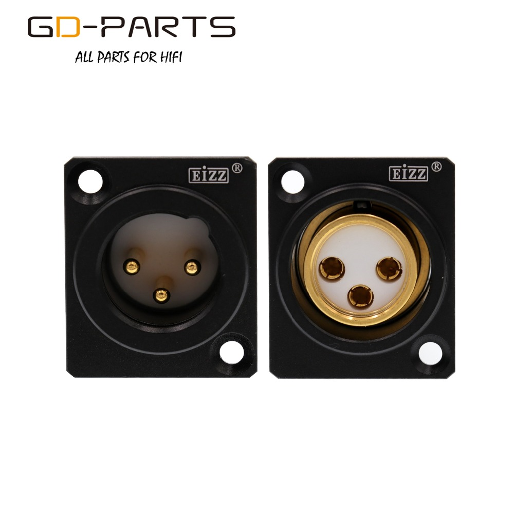 EIZZ High End 3-PIN Male Female XLR Connector MIC AMP CANNON Plug Adapter 24K Gold Plated Tellurium Copper Teflon Insulator 1PC
