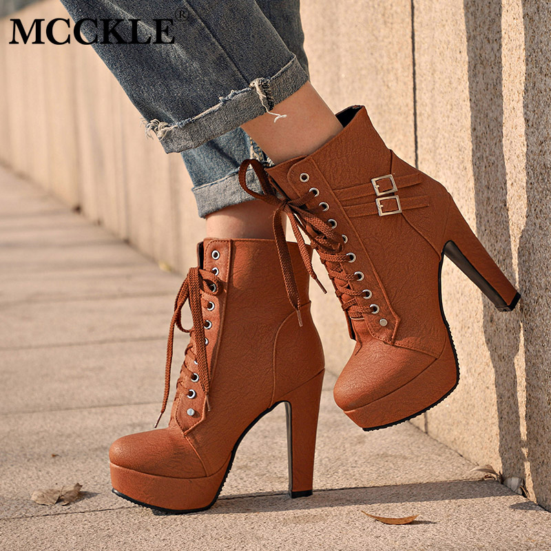 bcea1510cd0a MCCKLE Plus Size Ankle Boots For Women Platform High Heels Female Lace Up Shoes  Woman Buckle