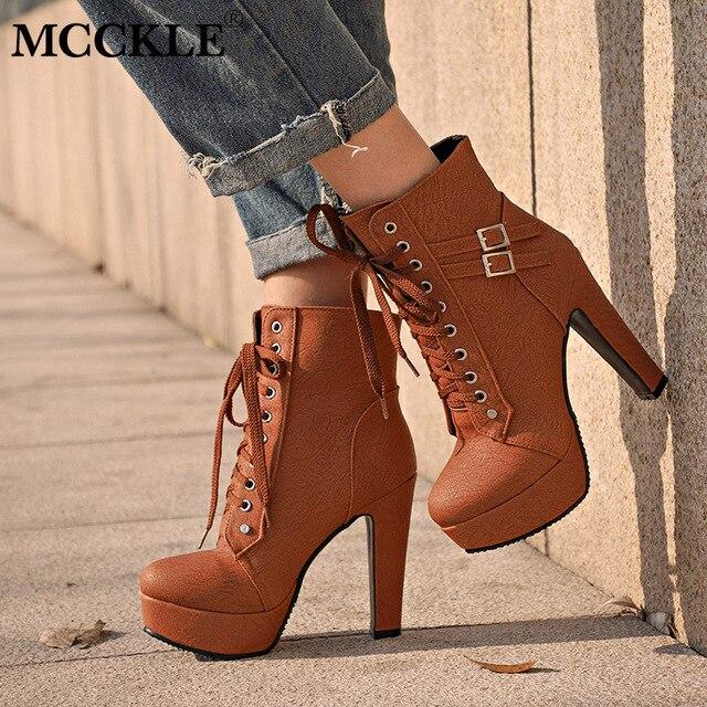 MCCKLE حجم كبير حذاء من الجلد النساء منصة عالية الكعب الإناث الدانتيل يصل أحذية نسائية مشبك امرأة التمهيد القصير السيدات الأحذية