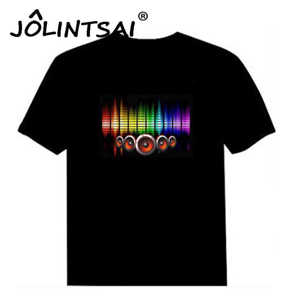 Camiseta de algodón activada por sonido de gran venta Camiseta de algodón con luz hacia arriba y hacia abajo ecualizador intermitente EL camiseta para hombre para Rock Disco Party DJ Top