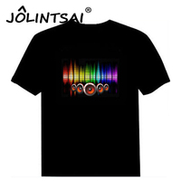 Hot Sale Sound Activated Led Cotton T Shirt Light Up And Down Flashing Equalizer EL T