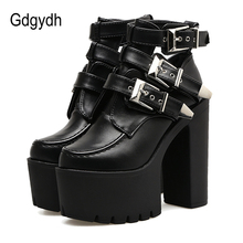 Gdgydh Fashion Buckle Leather Boots Women Soft Leather Spring Autumn Black Ladies Ankle Boots Ultra High Heels Shoes Platform цены