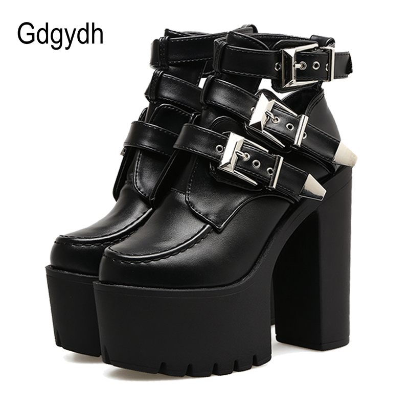 Gdgydh Fashion Buckle Martin Boots Women Soft Leather Spring Autumn Black Ladies Ankle Boots Ultra High Heels Shoes Platform mcckle women s lace up rivets buckle ankle martin boots ladies fashion thick heel platform high quality leather autumn shoes