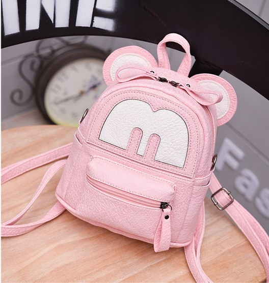 2017 new Baby girls kids backpack Cartoon cute butterfly knot Minnie  backpack princess Mini Bag bow mouse ears black pink gray 98518afcfe482