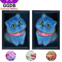 GGDB 5D DIY Diamond Painting Crystal Cartoon Cats 2 Pcs Canvas Painting Cats Prints Home Decor