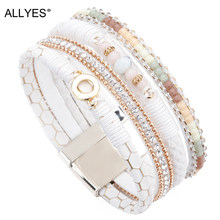 ALLYES White Leather Bracelets for Women Jewelry Trendy Round Metal Charm Rhinestone Crystal Wide Multilayer Bracelet Female(China)