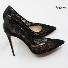 Aiyoway 2019 Women Shoes Pointed Toe High Heels Lace Pumps Stilettos Spring Summer Party Wedding Shoes Sexy Thin Heels Black new women sexy party sandals high heel wedding pointed toe lace thin heels black green pink summer lady female shoes ds a0323