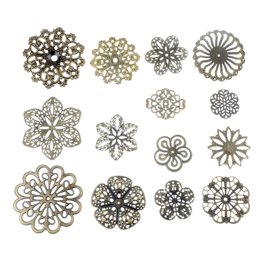 Free Shipping 10PCS Antique Bronze Color Metal Flower Filigree Wraps Connectors Crafts Gift Decoration DIY Jewelry Findings
