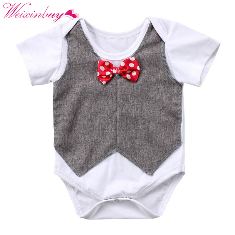 Baby Bodysuits Baby Boy Clothes Bowtie Plaid Gentleman Baby Boy Jumpsuits Short Sleeve Floral Neck Childrens Clothing