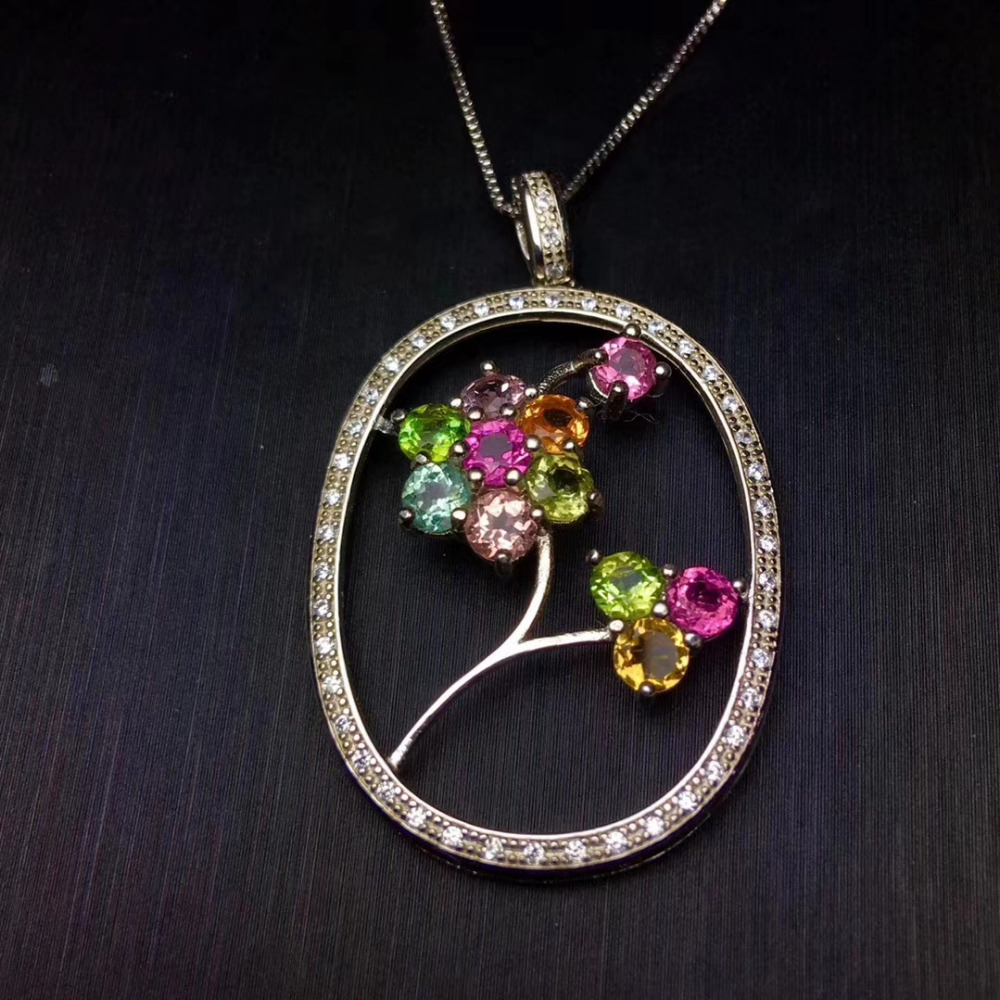 Natural multicolor tourmaline pendant 925 sterling silver Natural Gemstone Pendant Necklace lovely elegant circle Flower girlNatural multicolor tourmaline pendant 925 sterling silver Natural Gemstone Pendant Necklace lovely elegant circle Flower girl