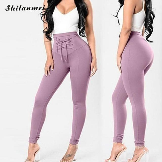 2018 Summer High Waist Skinny Leggings Black Empire Eyelet Lace Up Sexy Leggings Women Elegant Sporting Pants Pink Trousers Xxl
