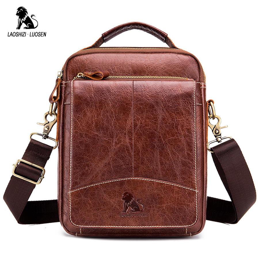 Image 2 - LAOSHIZI LUOSEN Messenger Bag Men Genuine Leather Shoulder Bag Men's bags Small Flap Casual Crossbody Bags for Men Handbag 2018-in Crossbody Bags from Luggage & Bags