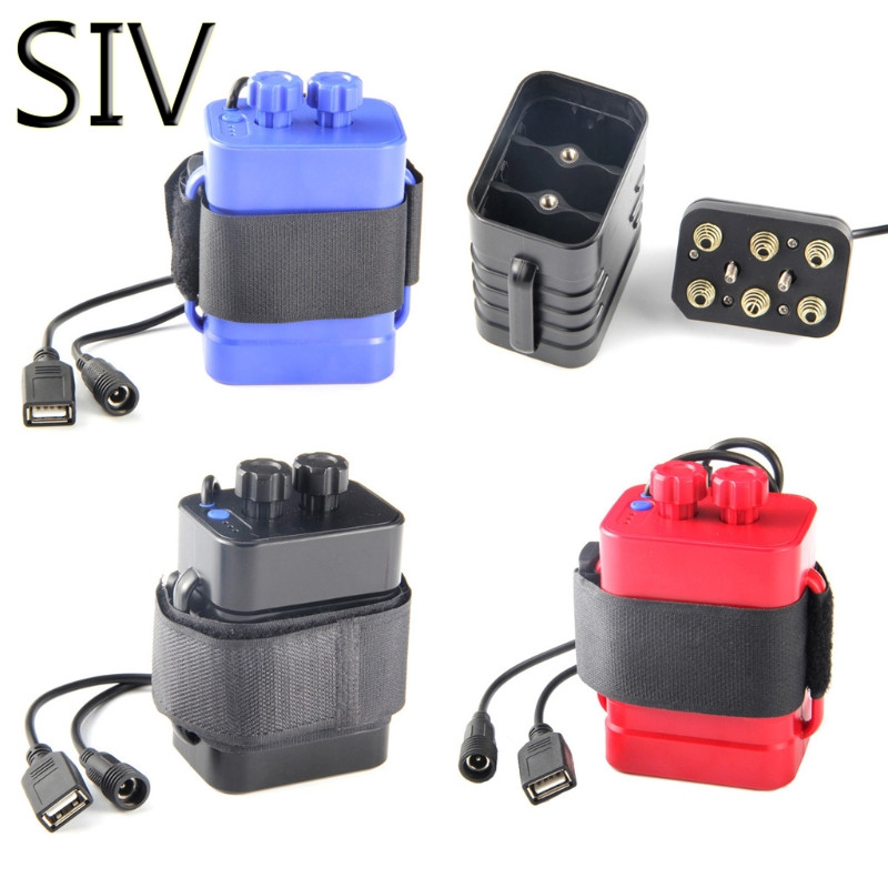 SIV Батарея коробка для хранения DC 8.4 В USB 5 В 6X18650 Батарея чехол для хранения Box для велосипеда led свет сотовый телефон