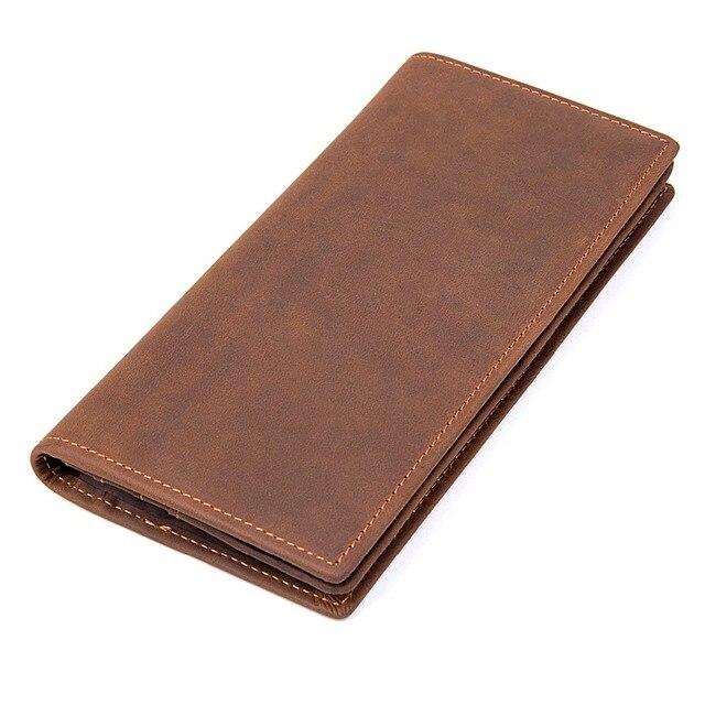 J.M.D  Excellent Cow Leather Purse Luxury Men Wallets Vintage Style Card Case Long Style Wallets Brown R-8163R