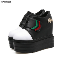 Womens High Heel Boots Winter Height Increase Wedge Platform Ankle Boots For Women Fashion Black Platform