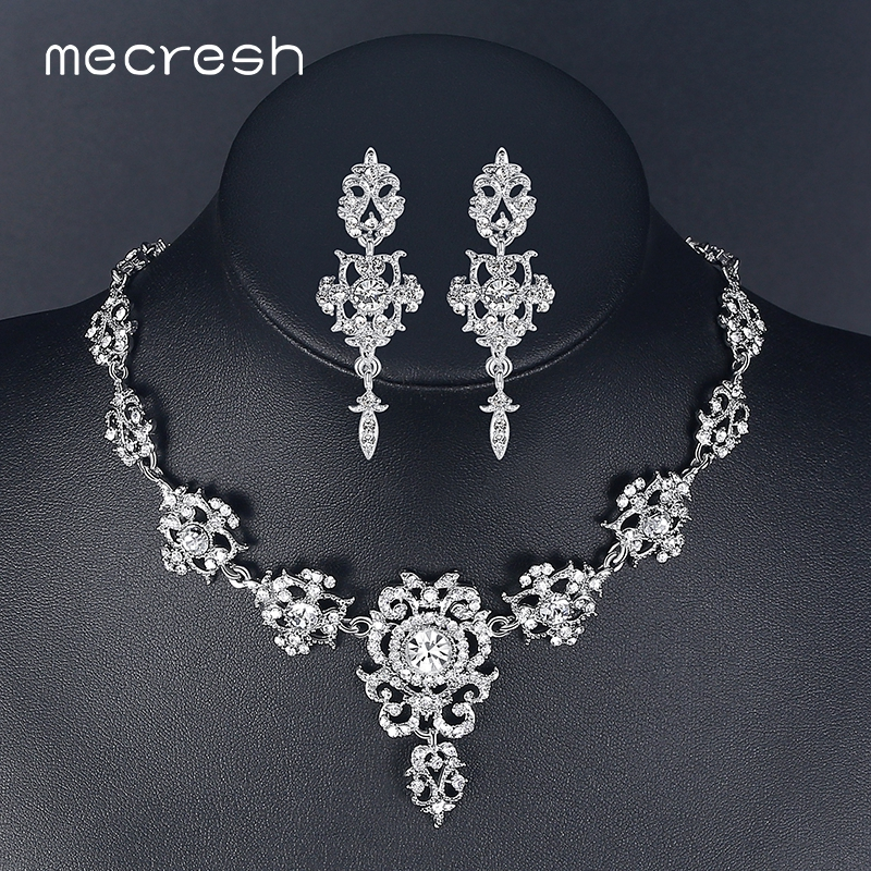 Mecresh Rhinestone Flower Conjuntos de joyería nupcial para mujer Color plata Crystal Party Wedding Collar Pendientes Conjuntos de joyería MTL432