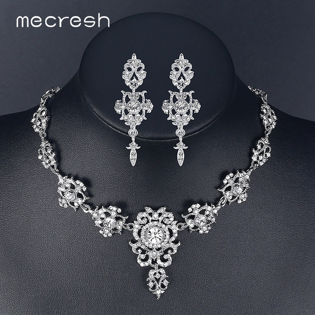 Mecresh Rhinestone Flower Bridal Jewelry Sets for Women Silver Color  Crystal Party Wedding Necklace Earrings Sets Jewelry MTL432 105c4563a19f