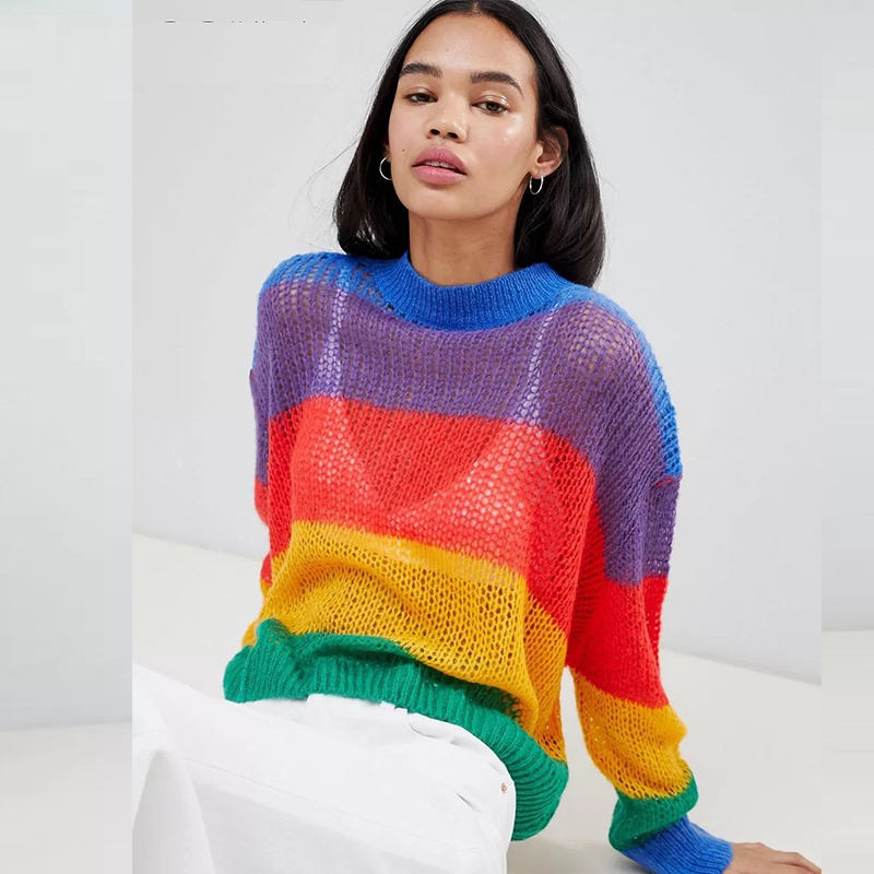 33500dea9 Women Rainbow Loose Pullover Sweaters Femme Colourful Striped Round Neck  Hollow Out Pullovers Knitted Thin Sweater