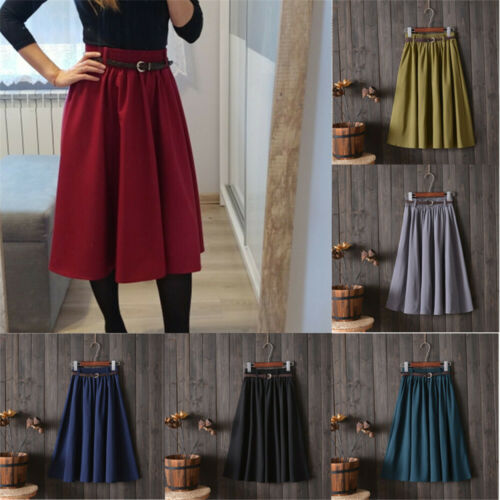 New Stylish Women's Retro High-waist Solid Belt Stretch Flared Pleated Swing Midi-Skirts Office Lady Summer Casual Skirt Onesize