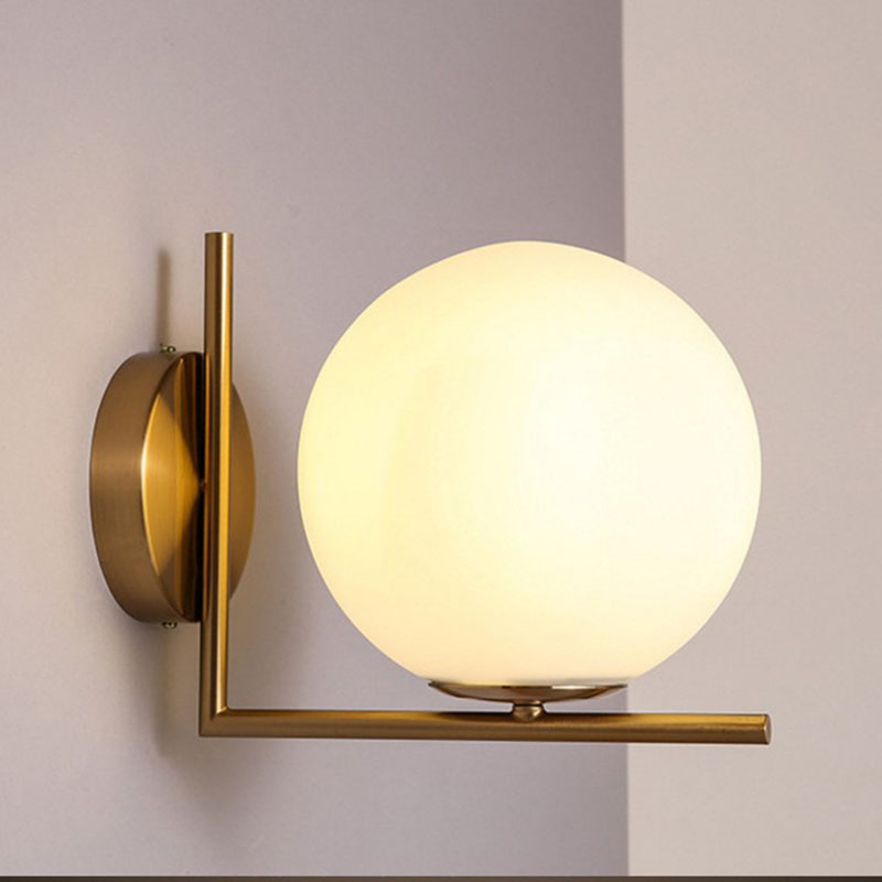 Post Modern Sconce Lights Frosted Glass Ball Wall Light Fixture Bronze Interior Designer Wall Lamp For Bedroom Living Room caged onion post verdi gris with galley 3 candelabra sockets frosted glass