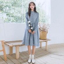 2019 New Spring Mori Girl Women Sweet Dress Stand Collar Vin