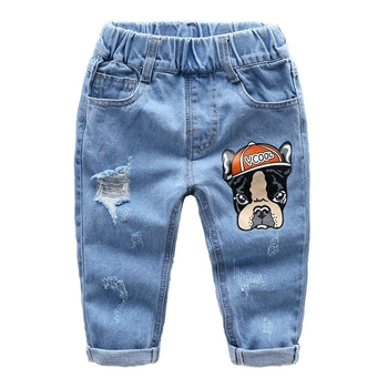 Children denim jeans 2018 new spring boys cartoon hole pants kids casual long pencil trousers child cotton leggings boy clothes Boys Jeans