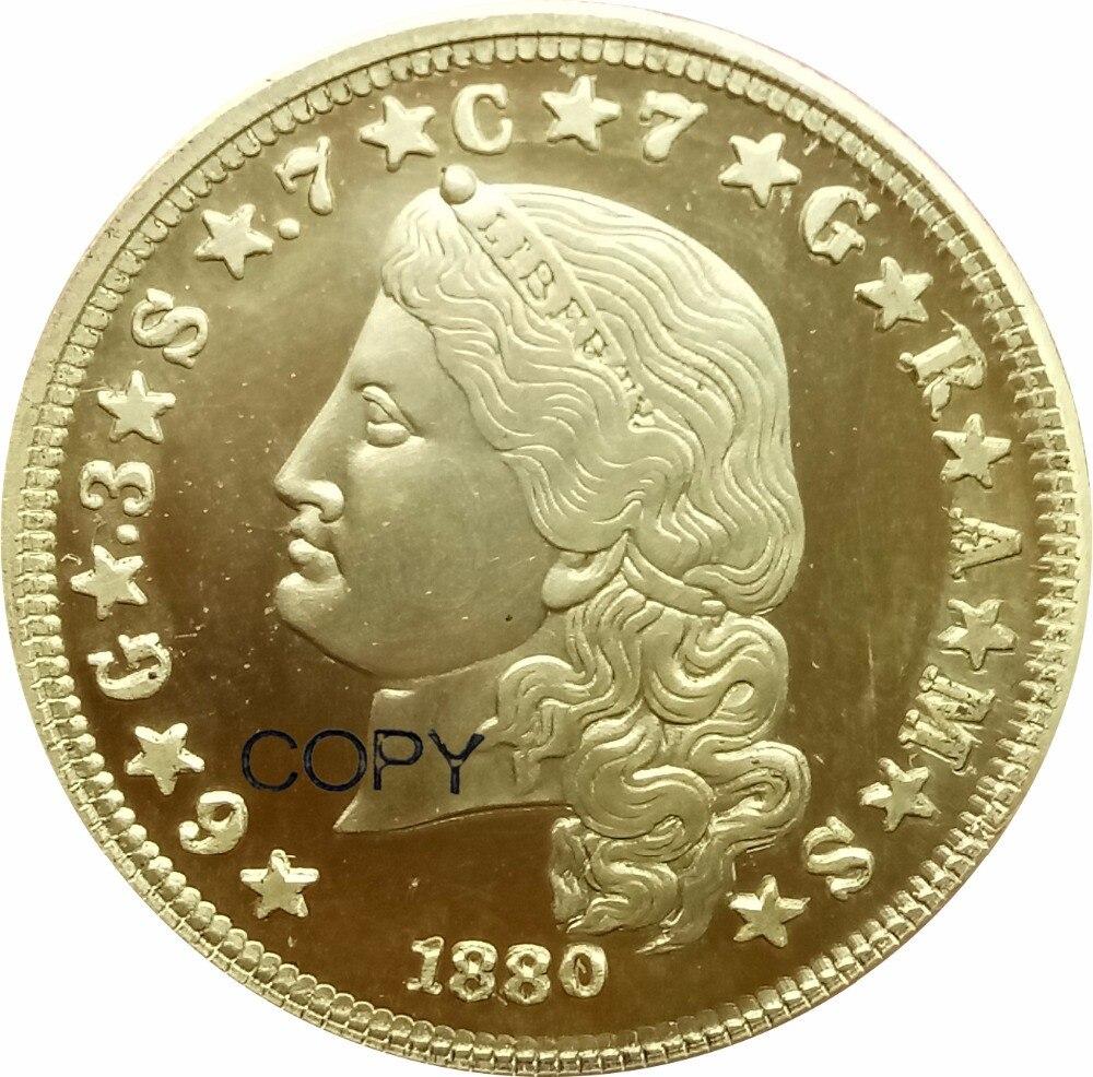 ESTADOS UNIDOS DA AMÉRICA E PLURIBUS UNUM 1880 Um Stella 4 Dólares Moeda De Ouro de 400 CENTAVOS-DEO GLORIA EST QUATRO FAZER Copiar Moedas de Bronze