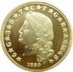 VEREINIGTEN STAATEN VON AMERIKA E PLURIBUS UNUM 1880 Eine Stella 4 Dollar Gold Münze 400 CENT-DEO EST GLORIA VIER TUN Messing Kopie Münzen