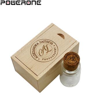 Powerone Glass wish Bottle with Cork+wooden box USB Flash Drive drifting bottle pendrive 4GB 8GB 16GB 32GB 64GB gift for lovers tanie i dobre opinie ZŁĄCZE USB 2 0 Maj-13 Pień Bottle Can Plastikowe 4gb 8gb 16gb 32gb China Guangdong Stock