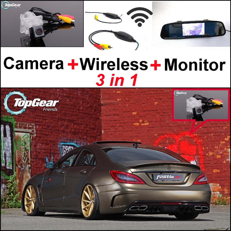 For Mercedes Benz CL MB W216 / CLS W218 Special WiFi Camera + Wireless Receiver + Mirror Screen 3in1 Backup Parking System liislee for mercedes benz cl mb w216 cls w218 special camera wireless receiver mirror screen 3in1 backup parking system