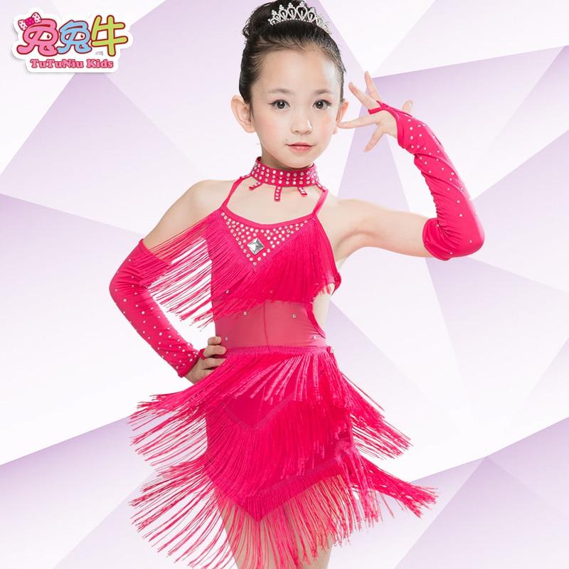 Envío libre rosa azul real borla Latino danza ropa niños Niñas Samba ...