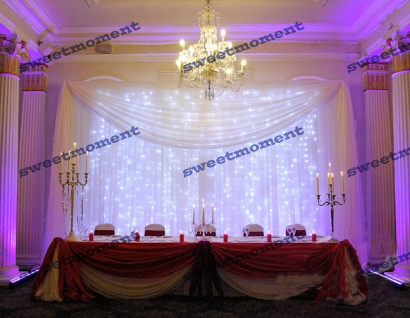 Aliexpress 3x6m Wedding Backdrop With Detachable Swag And Led Curtain D Chiffon White Color From Reliable
