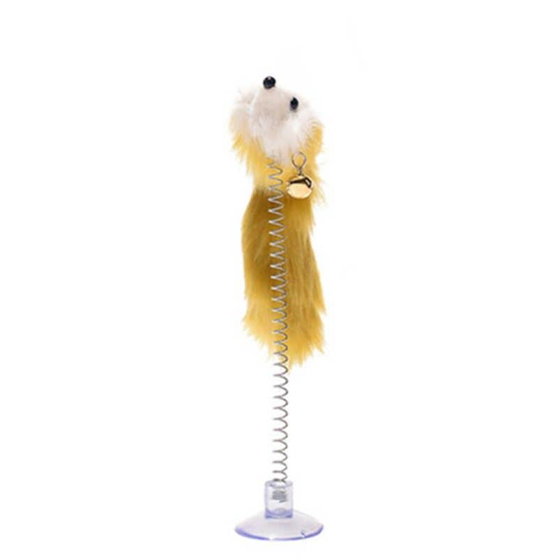 สีสุ่มพลาสติกแมวของเล่น Feather ตลกแมว MICE Shape 20x10 ซม.เมาส์สัตว์เลี้ยงผลิตภัณฑ์ด้านล่าง Sucker ยืดหยุ่น