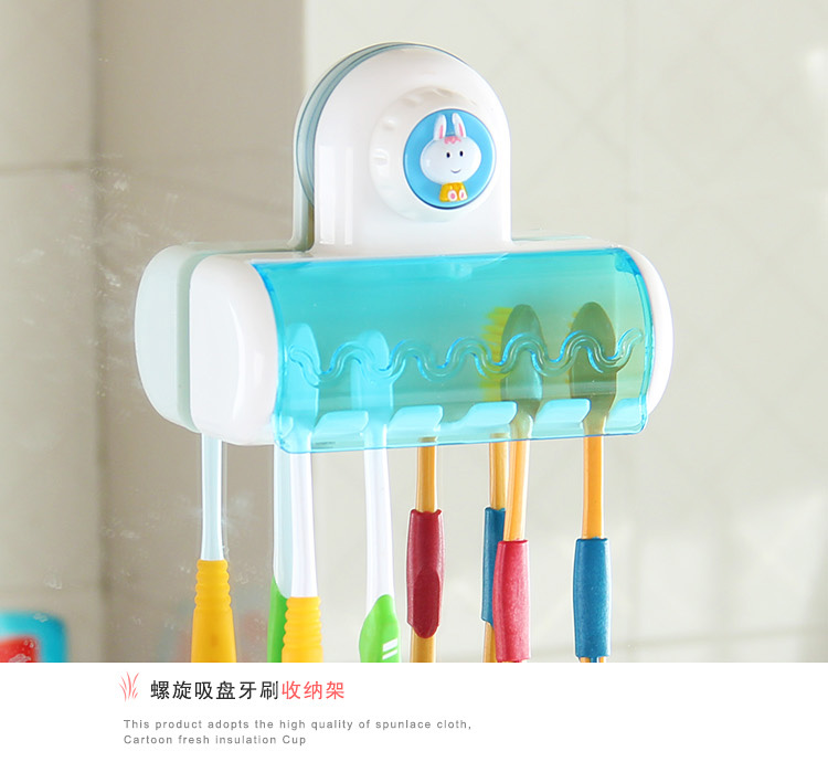 Toothbrush SpinBrush Suction Cups Holder Stand 5 Racks Home Bathroom Wall Mount image