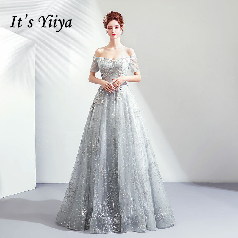 It's YiiYa Evening Dress Flowers Embroidery Gray Party Gown Shining Glitter Pearls Beading Boat Neck Wedding Formal Dresses E196