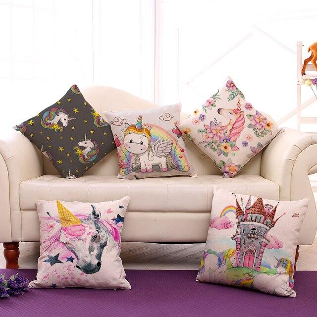 Miracille Stile Cartone Animato Unicorno Modelli di Cotone di Tela Fodere per Cuscini Creativo Coperte e Plaid Cuscini Home Auto Divano Decorativo Coperture per Cuscini