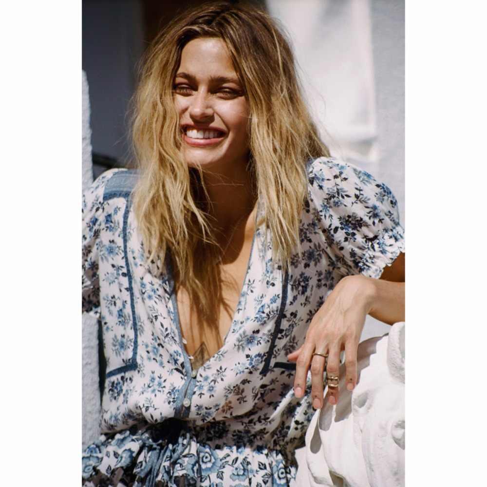 4e099b29fa11d Pirate Curiosity Gypsy Indigo Boho Summer Shirt Top V-Neck Short Sleeve  Women Shirts Blouse Elle Print Casual Top Blouses Blusa