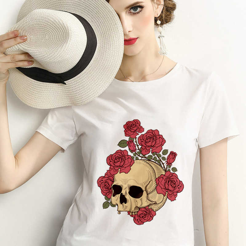 2019 New summer Rose skull T shirt Women Harajuku printed Femme T-shirt Casual Tops Tee personality Thin section Women Tshirt