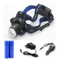 headlight XML T6 X2 waterproof head light headlamp head flashlight  band by  EU + US + car charge + 18650  rechargeable battery