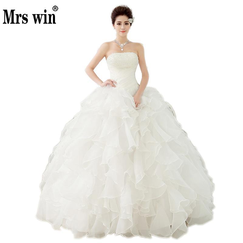 Pearl White Luxury 2018 Wedding Ball Gowns Sleeveless Princess Vestidos De Novia Wedding Frock Bride Dress Vestido De Noiva