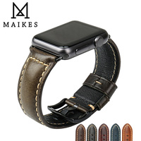 MAIKES New Design Watchband For IWatch Green Oil Wax Cow Leather Watch Band Watch Accessories For