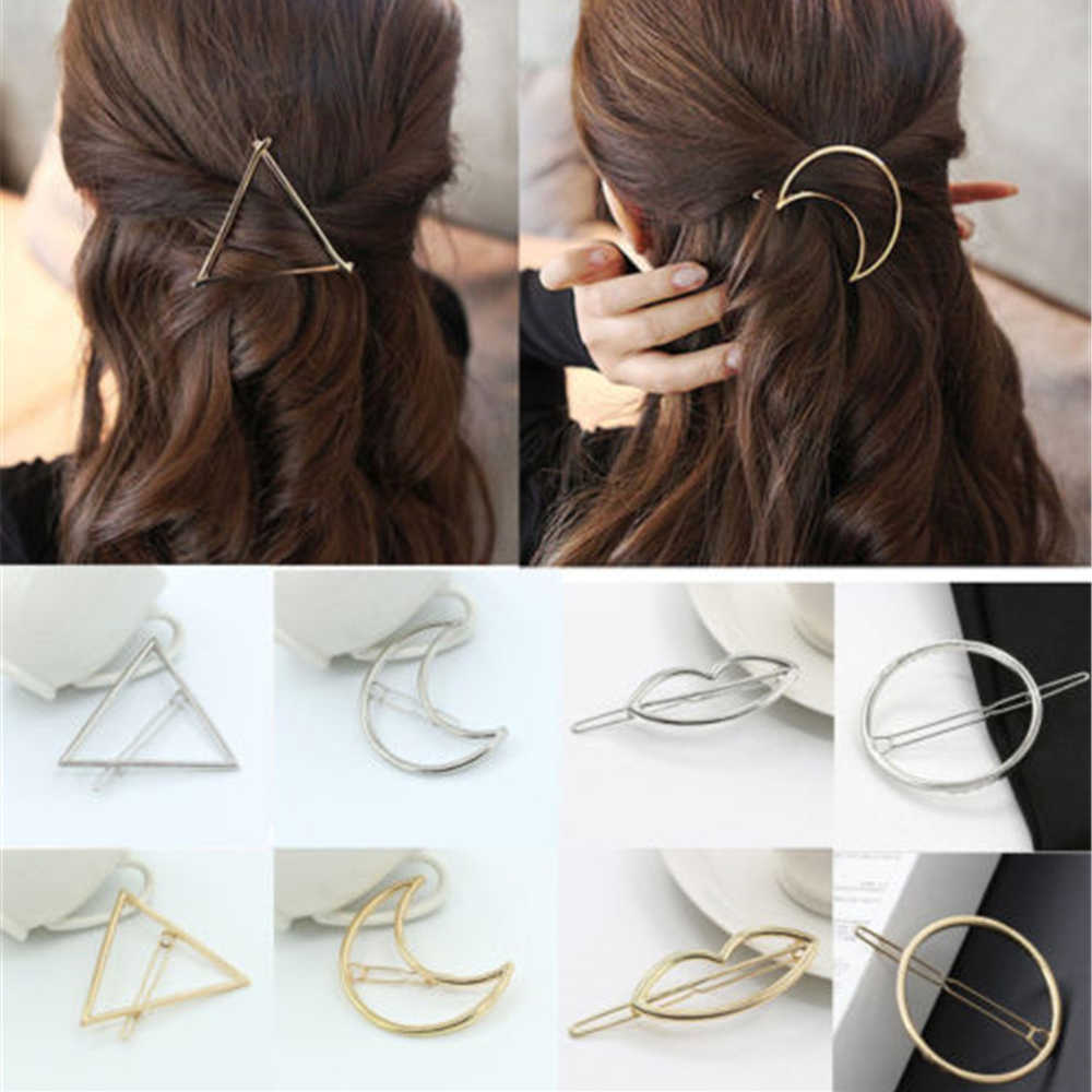2019 Fashion Hair Clip for Women Elegant Design Triangular Moon Lip Round Barrette Stick Hairpin Hair Pins Head Accessories #03