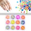 1 Caja Mate Ronda Lentejuelas Nail Art Glitter Polvo del Polvo 3D Charm Nail Tips Manicura de La Decoración Herramientas