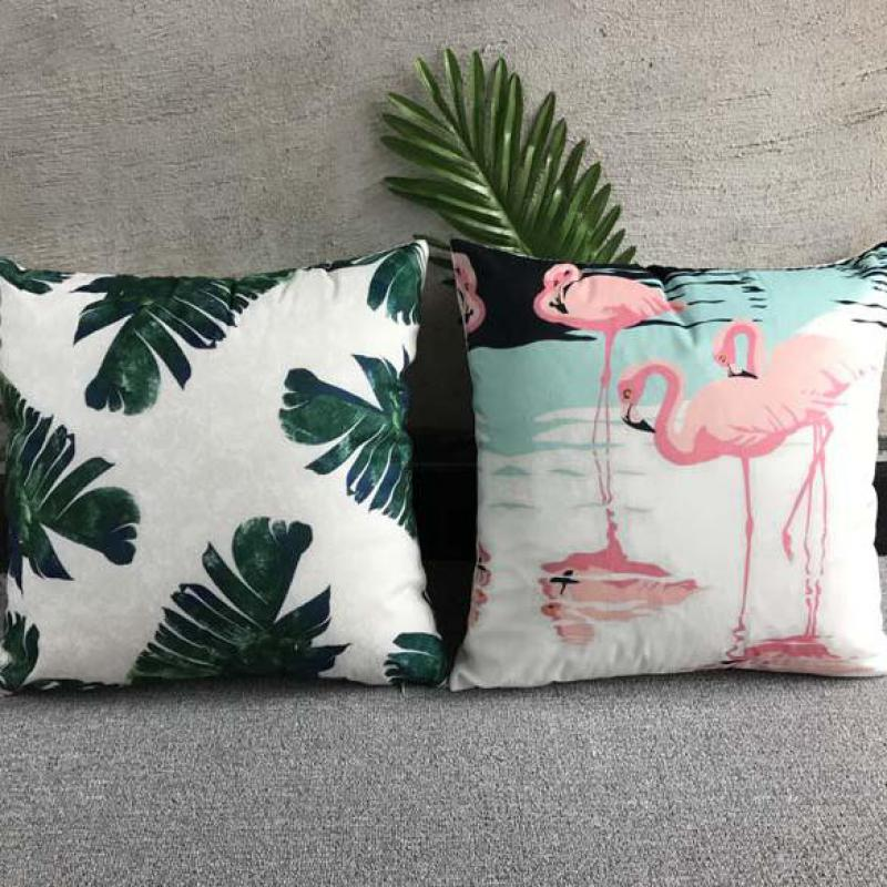 40*40cm Tropical Green Leaf Pillow Cover Decorative Cushion Cover Flowers Birds 40x40cm Flamingo Decoration