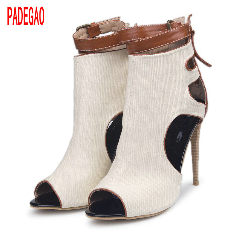 ФОТО PADEGAO  Spring  Women Sandals 2017 High Heel 11cm ,brow white color  Party Shoes Sandals Wedding Sandals