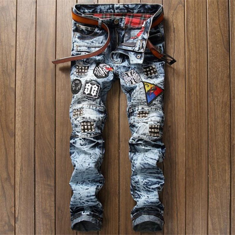 New 2017 Fashion Vintage Motorcycle High Quality Biker jeans Men, Slim straight denim Pants Rock star punk Jeans homme men s cowboy jeans fashion blue jeans pant men plus sizes regular slim fit denim jean pants male high quality brand jeans